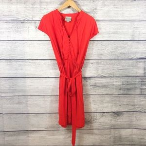 Maeve red orange v neck tie waist dress size small